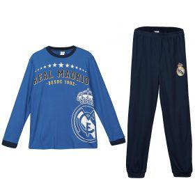 Real Madrid Long Sleeve Crest Pyjamas - Blue - Junior
