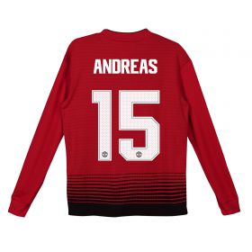 Manchester United Home Cup Shirt 2018-19 - Kids - Long Sleeve with Andreas 15 printing