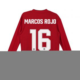 Manchester United Home Cup Shirt 2018-19 - Kids - Long Sleeve with Marcos Rojo 16 printing