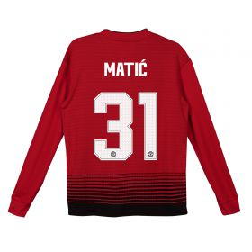 Manchester United Home Cup Shirt 2018-19 - Kids - Long Sleeve with Matic 31 printing
