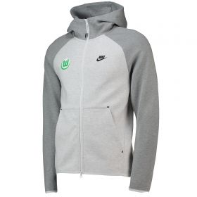VfL Wolfsburg Tech Fleece Full Zip Hoodie - Light Grey