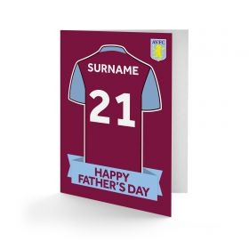 Aston Villa Personalised Shirt Fathers Day Card