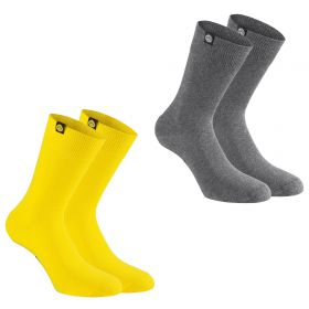 BVB 2 PK Socks - Grey/Yellow - Adult