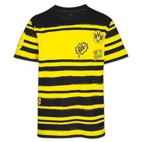 BVB Striped Badge T-Shirt - Black/Yellow - Boys
