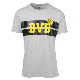 BVB Striped Chest T-Shirt - Grey - Mens