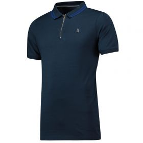 Everton Terrace Zip Front Polo Shirt - Navy - Mens
