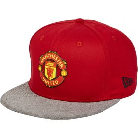Manchester United New Era 9FIFTY Suede Visor Snapback Cap - Red/Marl - Adult