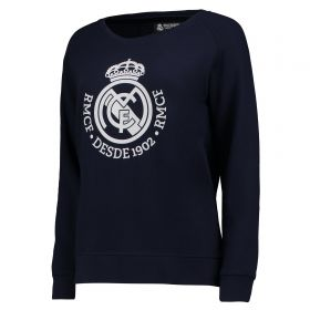 Real Madrid Tonal Crest Crew Neck Sweater - Navy - Womens