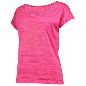 Real Madrid Tonal Crest Polyester T-Shirt - Pink - Womens