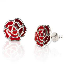 England Silver Rose Ear Studs - Pair