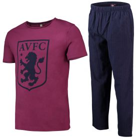 Aston Villa Crest T and Woven Bottom Lounge Set - Claret/ Navy - Mens