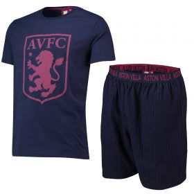 Aston Villa Crest T and Woven Lounge Short Set - Navy/Claret - Boys