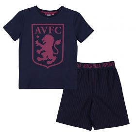 Aston Villa Crest T and Woven Short Lounge Set - Navy/Claret - Mens
