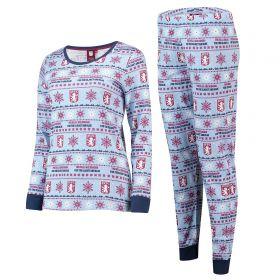 Aston Villa Fairisle Christmas PJs - Sky/ Claret/Navy- Womens