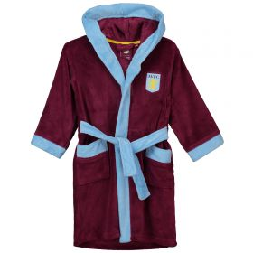 Aston Villa Fleece Robe - Claret / Sky - Boys