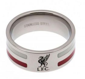 Liverpool Colour Stripe Liverbird Band Ring - Stainless Steel