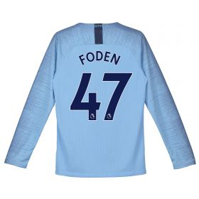 Manchester City Home Stadium Shirt 2018-19 - Long Sleeve - Kids with Foden 47 printing