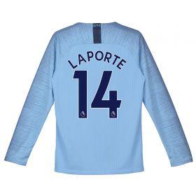 Manchester City Home Stadium Shirt 2018-19 - Long Sleeve - Kids with Laporte 14 printing