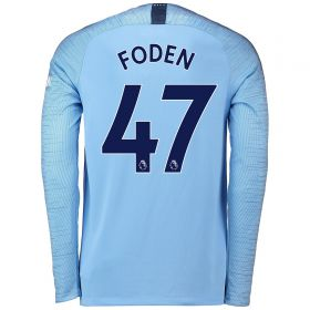 Manchester City Home Stadium Shirt 2018-19 - Long Sleeve with Foden 47 printing