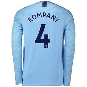 Manchester City Home Stadium Shirt 2018-19 - Long Sleeve with Kompany 4 printing