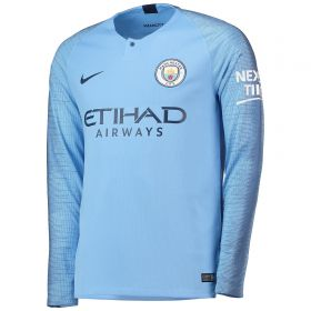 Manchester City Home Stadium Shirt 2018-19 - Long Sleeve with Laporte 14 printing