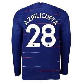 Chelsea Home Stadium Shirt 2018-19 - Long Sleeve with Azpilicueta 28 printing