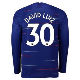Chelsea Home Stadium Shirt 2018-19 - Long Sleeve with David Luiz 30 printing