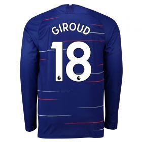Chelsea Home Stadium Shirt 2018-19 - Long Sleeve with Giroud 18 printing