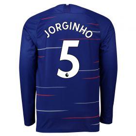 Chelsea Home Stadium Shirt 2018-19 - Long Sleeve with Jorginho 5 printing