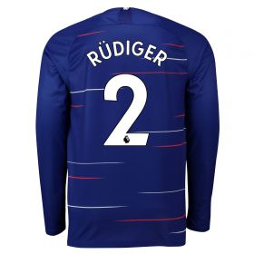 Chelsea Home Stadium Shirt 2018-19 - Long Sleeve with Rüdiger 2 printing