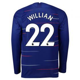 Chelsea Home Stadium Shirt 2018-19 - Long Sleeve with Willian 22 printing
