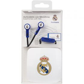 Real Madrid Earphones with Mic - Blue/White