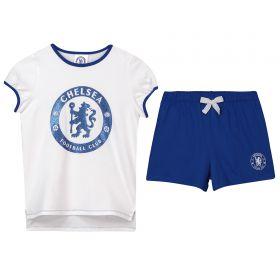 Chelsea Glitter Crest Short Pyjamas - White/Blue - Girls