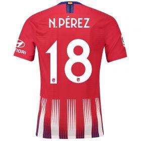 Atlético de Madrid Home Cup Vapor Match Shirt 2018-19 with N. Pérez 18 printing