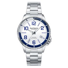 Real Madrid Stainless Steel Watch - Silver-White-Blue