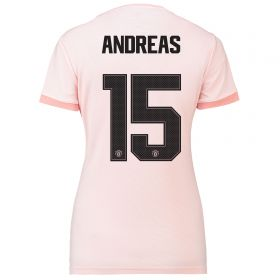 Manchester United Away Cup Shirt 2018-19 - Womens with Andreas 15 printing