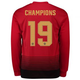 Manchester United Home Cup Shirt 2018-19 - Long Sleeve with Champions 19 printing