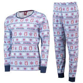 Aston Villa Fairisle Christmas PJs - Sky/ Claret/Navy- Mens