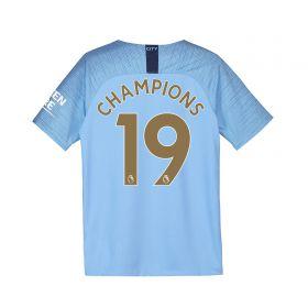 Manchester City Home Stadium Shirt 2018-19 - Kids with Champions 19 printing