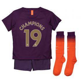 Manchester City Third Stadium Kit 2018-19 - Little Kids with Champions 19 printing