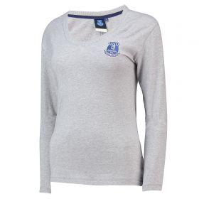 Everton Core Basic Crest Long Sleeve T-Shirt -Grey Marl - Womens