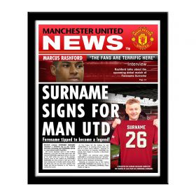 Manchester United Personalised Football Newspaper Framed