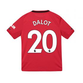 Manchester United Home Shirt 2019 - 20 - Kids with Dalot 20 printing