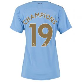 Manchester City Authentic Home Shirt 2019-20 - Womens with Champions 19 printing