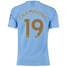 Manchester City Authentic Home Shirt 2019-20 with Champions 19 printing