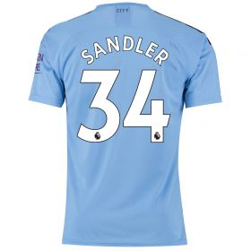 Manchester City Authentic Home Shirt 2019-20 with Sandler 34 printing