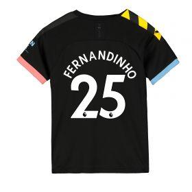 Manchester City Away Shirt 2019-20 - Kids with Fernandinho 25 printing