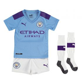 Manchester City Home Mini Kit 2019-20 with Sandler 34 printing