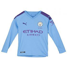 Manchester City Home Shirt 2019-20 - Long Sleeve - Kids with Kun Agüero 10 printing