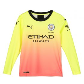 Manchester City Third Shirt 2019-20 - Long Sleeve - Kids with Champions 19 printing